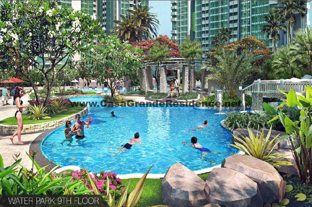 waterpark from 9th floor at casa grande residence apartment jakarta dengan unit disewakan