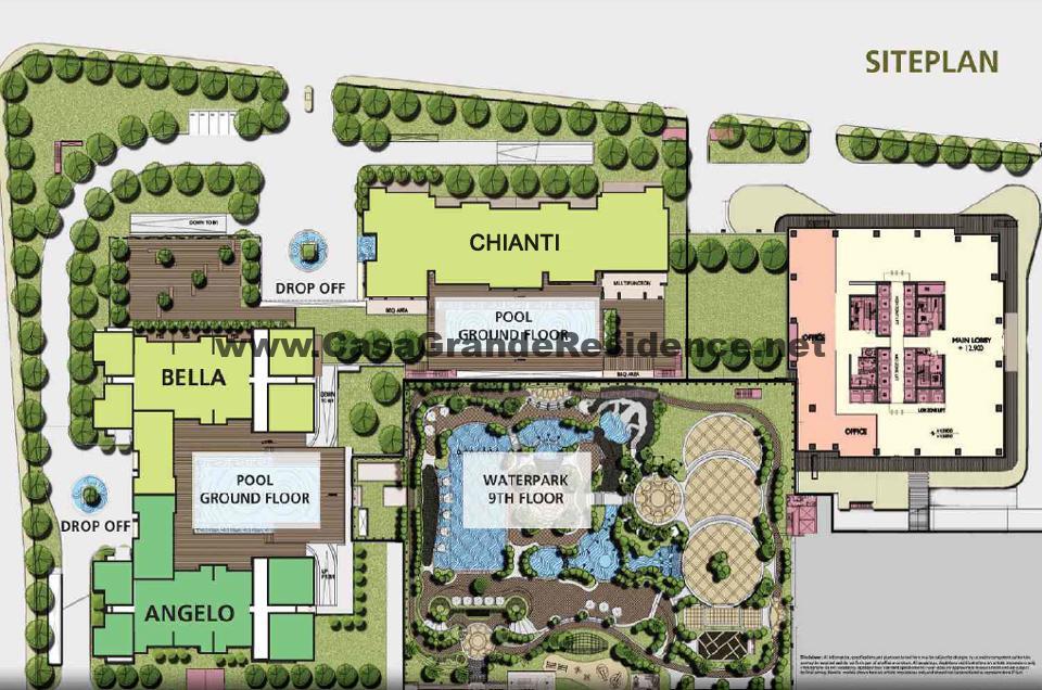 Siteplan superblock kota kasablanka kuningan jakarta dengan unit apartemen casa grande residence office eightyeight kasablanka and mall kota kasablanka ( KOKAS )